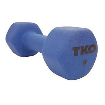 TKO 177NDBL9 9# Neoprene Coated Dumbbell with TriGrip Handle Blue
