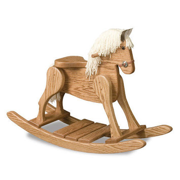 Fireskape Amish Small Deluxe Crafted Rocking Horse with Mane Finish: Solid Oak, Mane Color: White
