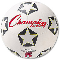 Champion Sports Rubber Sports Ball, For Soccer, No. 5, White/Black