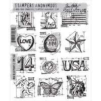 Stampers Anonymous Tim Holtz Cling Rubber Stamp Set-Mini Blueprints