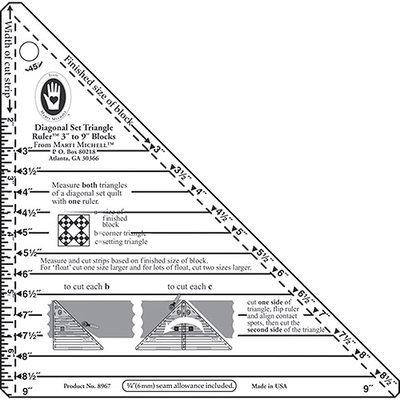 Michell Marketing Inc 3 -9 Blocks Small Diagonal Set Triangle Ruler Marti Michell 8967M