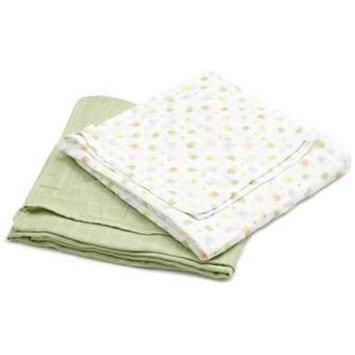 I Play 400150-506-00 Organic Muslin Swaddle Blanket 2 Pack - Print Sage