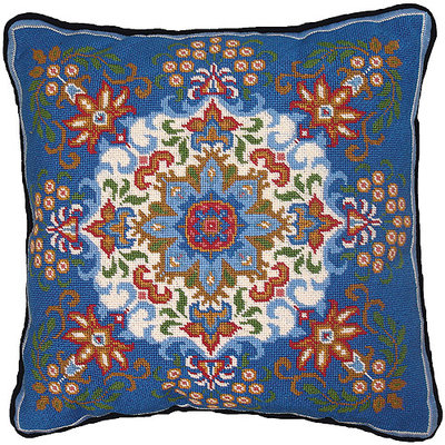 M C G Textiles Stitched In Floss Needlepoint Kit - Blue Kaleidoscope