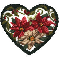 M C G Textiles 37782 Latch Hook Kit 30X27 Shaped-Winter Floral Heart