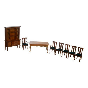Aztec Imports Inc Town Square Miniatures Green Walnut Dining Room Set