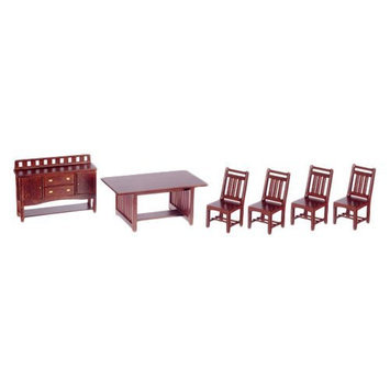 Aztec Imports Inc Town Square Miniatures Walnut Dining Room Set