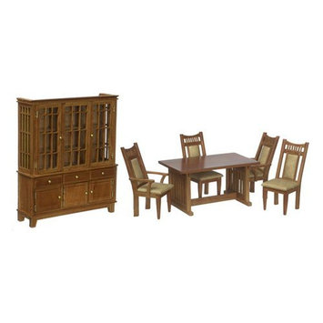 Aztec Imports Inc Town Square Miniatures Pecan Dining Room Set - 5 Piece