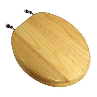 Findingking Natural Pine Wood Toilet Seat w/Piano Finish and Chrome Hinge