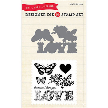 Words Of Love Carta Bella Because I Love Designer Die & Stamp Valentine Paper Die Set