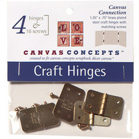 Canvas Concepts Decor Canvas Craft Hinges With Nails-Brass 4 Sets/Pkg