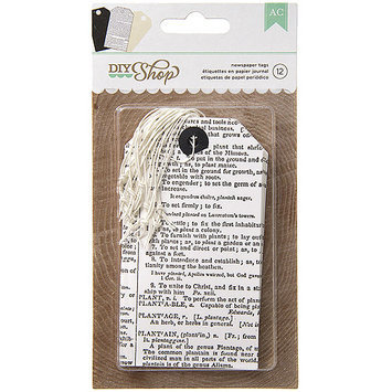 American Crafts DIY-TAG-66639 DIY Shop Tags 12-Pkg-Newsprint, 2.5 in. X4.5 in.