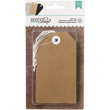 American Crafts DIY-TAG-66640 DIY Shop Tags 12-Pkg-Kraft, 2.5 in. X4.5 in.