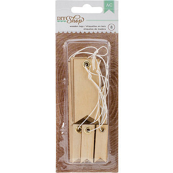 American Crafts DIY-TAG-66643 DIY Shop Tags 12-Pkg-Narrow Wooden, .5 in. X1.5 in. To 1.5 in. X3 in.