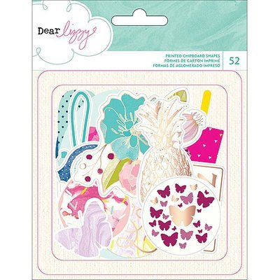 American Crafts Dear Lizzy Serendipity Cardstock DieCuts 52/PkgEphemera W/Gold Foil