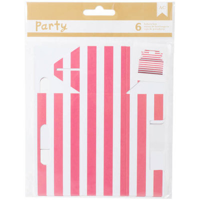 American Crafts DIY Party Bakery Treat Boxes 3.5inX4inX1.75in 6/PkgPink & White