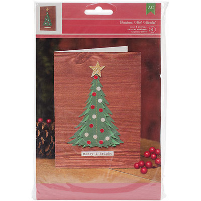 American Crafts Christmas Card Kit-Makes 6, Merry & Bright W/Tree