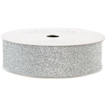 American Crafts AC-GT-96052 Glitter Paper Tape 3 Yards-Spool-Silver .875 in.