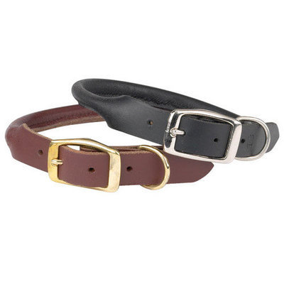 Casual Canine Rolled Leather Dog Collar LG Blk