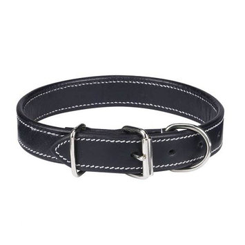 Casual Canine Flat Leather Dog Collar Black 22