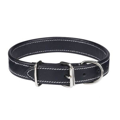 Pet Pals ZA5710 11 17 Casual Canine Flat Leather Collar 11-14 In Black