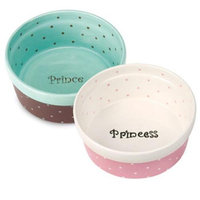 Pet Studio Polka Dot Pet Dish 5In Pink Princess