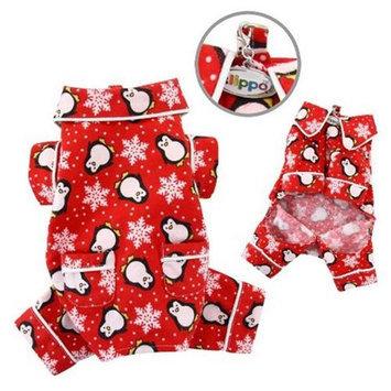 Klippo Pet, Inc Klippo Pet KBD058XS Penguins & Snowflake Flannel Pajamas With 2 Pockets, Red - E