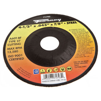 Forney 71793 Cut-Off Wheel with 7/8-Inch Arbor Metal Type 27 A60T-BF 4-1/2-Inch-by-00.45-Inch
