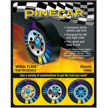 Pinepro Pine Car Derby Wheel Flare Rub-On Decals-Fire Ball