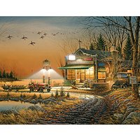 White Mountain Puzzles Hunting Store Night Jigsaw Puzzle, 1000-pieces