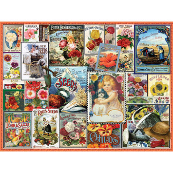 White Mountain Puzzles Vintage Flower Seeds 550 Pc Puzzle