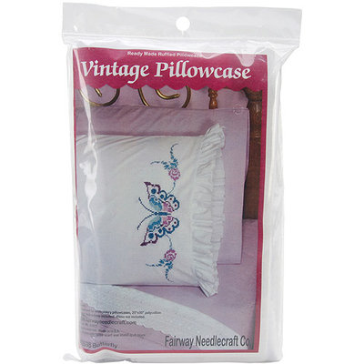 Fairway Needlecraft Large Butterfly Stamped Lace Edge Pillowcase Pair, 30