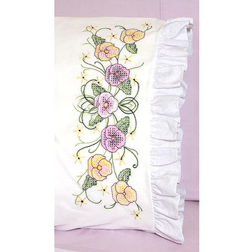 Fairway Needlecraft Pansy Stamped Lace Edge Pillowcase Pair, 30