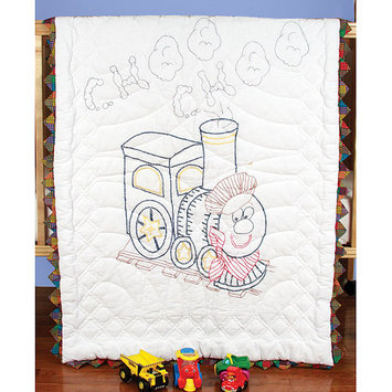 Fairway Needlecraft Train Stamped Baby Quilt Top, 36