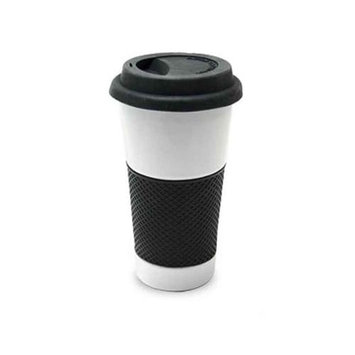 European Gift 323W Ceramic Drinking Cup With Silicone Grip 16Oz