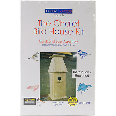 Pinepro Chalet Wood Bird House Kit, Unfinished