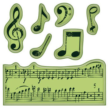 Inkadinkado Cling Mini Stamp-Music Notes