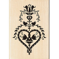 Inkadinkado Seasonal Mounted Rubber Stamp-Folk Art Heart 2.75