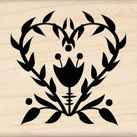 Inkadinkado Seasonal Mounted Rubber Stamp-Folk Flower Heart 2.25