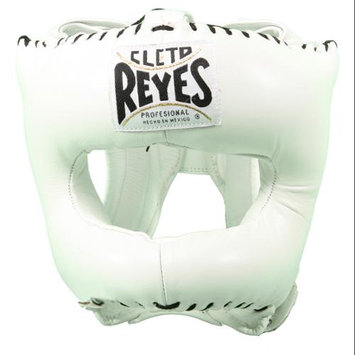 Cleto Reyes Traditional Leather Boxing Headgear with Nylon Face Bar - White