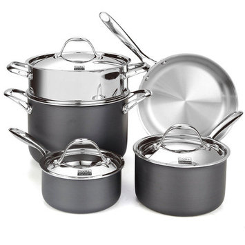 Cook N Home Cooks Standard Multi-Ply Clad Hard Anodized 8-Piece Cookware Set