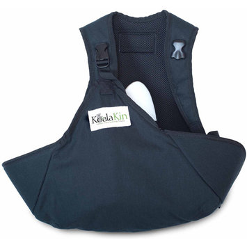 KoalaKin Hands Free Nursing Vest Pouch - Black/Green - Vest Size Small/Pouch Size XS/S