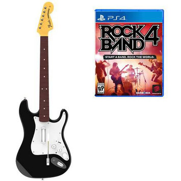 Harmonix Music Systems Rock Band 4 Wireless Fender Stratocaster Guitar Controller Bundle - Playstation 4