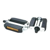DUO Bicycle Parts 57KP723B01 Black Pedal 0.56 in. Steel Plus Reflector With Classic Vintage Appeal