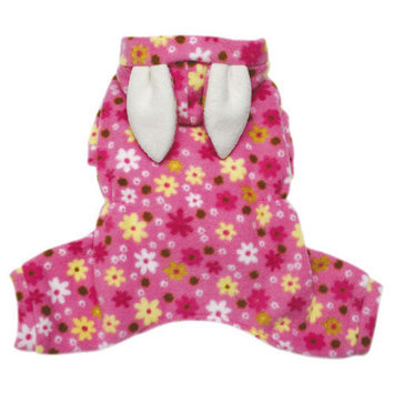 Klippo Pet Adorable Floral Bunny Fleece Dog Pajamas / Bodysuit with Hood