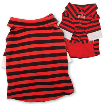 Klippo Pet Cute Striped Collar Dog Shirt with Double Sleeves