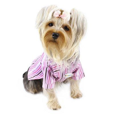 Klippo Pet Adorable Smart Stripes Classic Button-Up Dog Shirt
