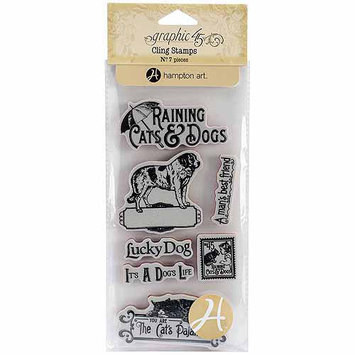 Hampton Art Graphic 45 Raining Cats and Dogs Cling Stamps