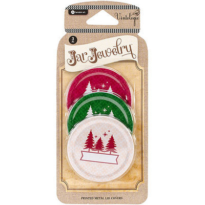 Hampton Art Vintologie Collection-Three Tree Print Metal Lid Cover 3/Pkg-Red, Ivory, and Green