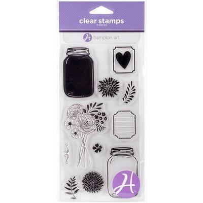 Hampton Art Clear Stamps 4inX8in SheetMason Jar Florals