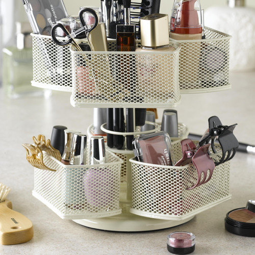 Nifty Home Products Cosmetic Organizing Carousel in Powder Coated Cream
